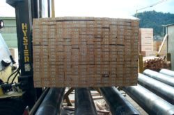 pallet of lumber on roller conveyor