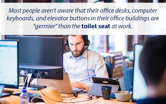 Quote about how a work computer has more germs than a toilet