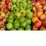3 varieties of apples with PLU stickers