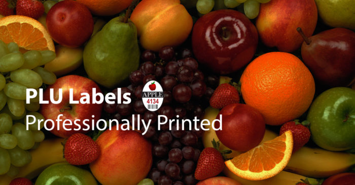 fruit with PLU Labels - professionally printed with picture of PLU label