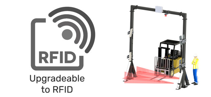 upgradeable to RFID, forklift going through RFID portal
