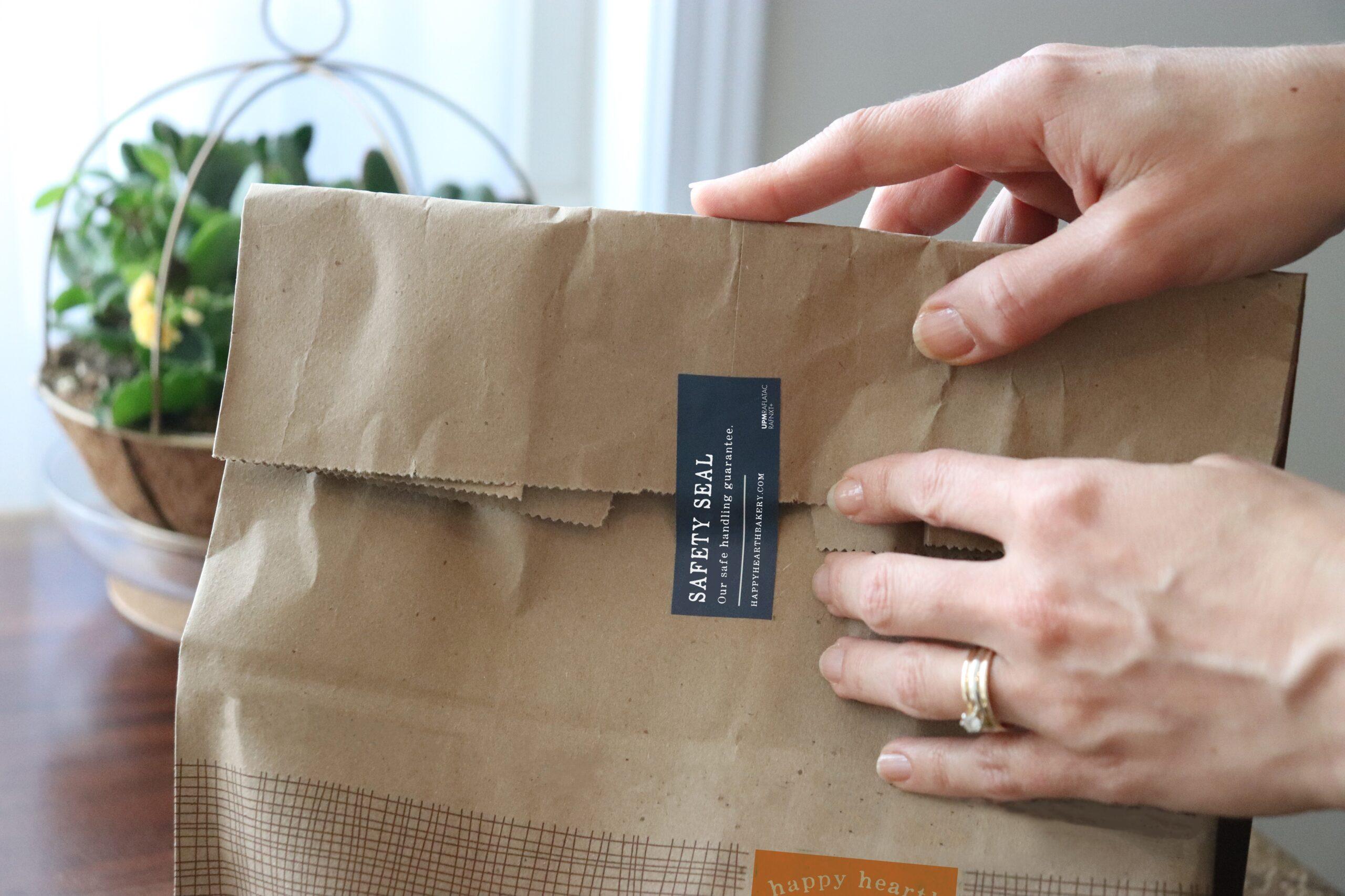 tamper-evident label on paper bag